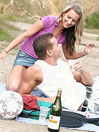 A horny couple publicly shagging outdoors at a picknick pictures at lingerie-mania.com