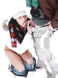 A very cold teenager shagging her boyfriend in the snow pictures at kilogirls.com