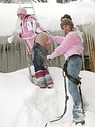 Two hot and very sexy teenage lesbians playing in the snow pictures