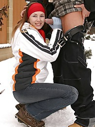 Sexy chick does horny teenage cumshot in the snow hardcore pictures at sgirls.net