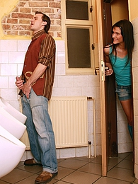 Public bathroom jerker surprised by a horny and cute babe pictures