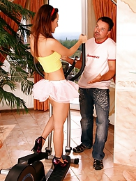 A hot teenage cutie fucking her fitness trainer at her house pictures at freekilosex.com