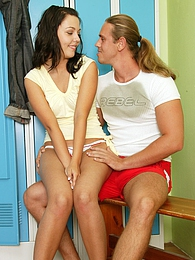 Brunette teenager gets fucked by her trainer in lockerroom pictures at freekiloporn.com