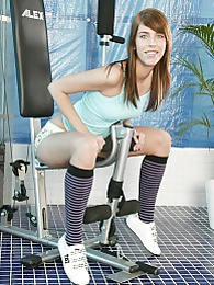 Sporty sweetheart caressing her blazing hot teenage body pictures at find-best-mature.com
