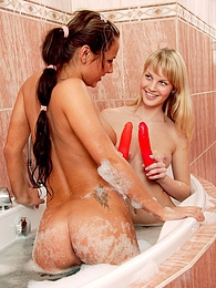 Two bathing teenage lesbians getting really dirty together pictures at lingerie-mania.com