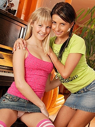 Two teenage cuties love playing with their toys at home pictures at find-best-panties.com