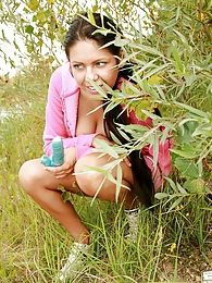 Teenage brunette cutie loves getting fucked in the nature pictures at lingerie-mania.com