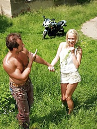 Teenage blonde enjoys a stiffy cock in the public woods pictures at dailyadult.info
