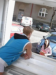 Horny window brunette penetrated by a giant cock hardcore pictures