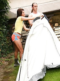 Naughty teenage brunette enjoys a big cock on the camping pictures at freekilopics.com