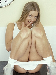 Naughty blonde babe finger fucking her sweet shaved pussy pictures at find-best-hardcore.com