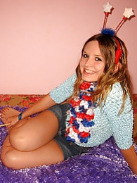 Cute teen masturbates pussy in fancy dress pictures at freekilosex.com