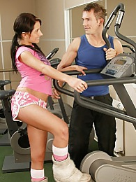 Brunette teenager gets fucked by her fitness instructor pictures
