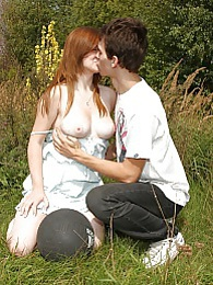 Kinky teen girl gets big knockers fucked and cummed outdoors pictures at kilosex.com
