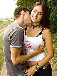 Roxy and her boyfriend are outside when they get so horny pictures at freekilosex.com