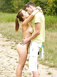 Adelle fucks and sucks her horny boyfriend out in the park pictures at kilogirls.com