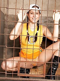 Hot young caged babe Kelly gets her shaved pussy fucked pictures at kilomatures.com
