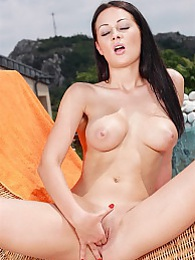 Hot dark haired babe Dana finger bangs her juicy pink pussy pics