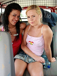 Naughty young Ellis and her hot friend share a hard cock pictures at kilomatures.com
