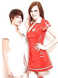 Two busty teen lesbian chicks dressed up as sexy nurses pictures at lingerie-mania.com
