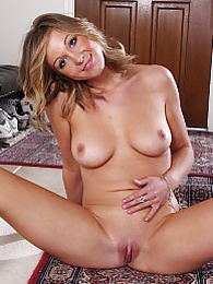 Perky breasted Ashley Jones rubs her shaved pussy pictures