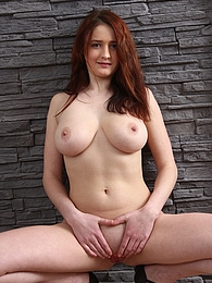 Busty redhead Maria Beaumont spreading her pussy pictures at find-best-mature.com