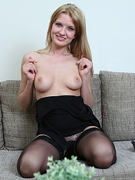 Gorgeous blonde Bree Haze masturbates in black stockings pictures at freekilosex.com