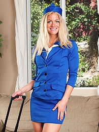 Naughty flight attendant Bella Bends fingers her pussy pictures at freekilomovies.com