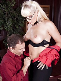 Heidi Mayne invites her co worker inside her office and lures him into fucking her pictures