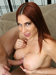Sheila Marie welcomes her husband on the couch with her big boobs and submits her pussy pictures