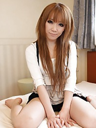 Beautiful and brown haired Japanese Ai spreading her legs to take on our stunt cock pictures at dailyadult.info