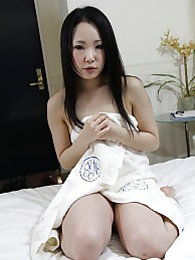 Miyuki loosens up to show us her sexy naked body and goes to work riding our stunt cock pictures