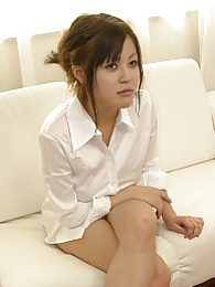 Pretty Japanese model Sara sucking off our meat treat and spits fresh cum on her hand pictures at freekiloporn.com
