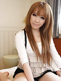 Pretty Japanese girl with brown hair Ai shows her small tits and hairy pussy while riding a cock pictures at dailyadult.info