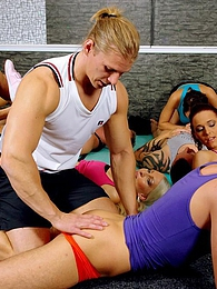 Naughty hot coeds at workout session all join in a bi orgy pictures at lingerie-mania.com