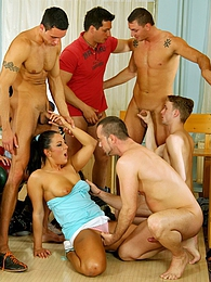 These horny guys will take pussy and cock at the same time pictures at freekilomovies.com