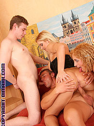 Two sexy muscular studs fucking in a hot bisexual threesome pictures at relaxxx.net