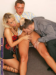 Two horny studs and a babe in hot bisexual office action pictures at kilogirls.com