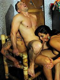 Three gorgeous chicks sharing large cocks with bisexual guys pictures at freekilomovies.com