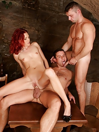 Sweet redhead babe sharing with a bisexual guy fresh cum pictures at freekilomovies.com