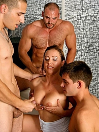 Hot sultry brunette chick in a crazy bisexual threesome pictures at freekilomovies.com