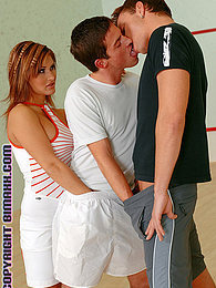 2 horny bisexual guys and a hot brunette in MMF fuckfest pictures at find-best-hardcore.com