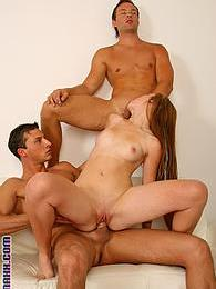 Two bi guys kissing and fucking a gorgeous cutie in 3some pictures at freekilomovies.com