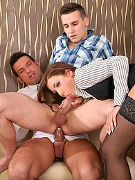 Naughty sexy slut chick and two bi guys having wild sex pictures at freekilomovies.com