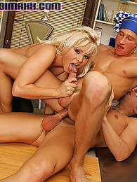 Blonde babe with a strapon fuck guy in bisexual 3some action pics