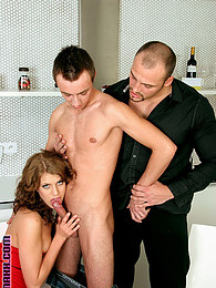 Two horny pretty gay guys banging a willing naked hottie pictures at freekilomovies.com