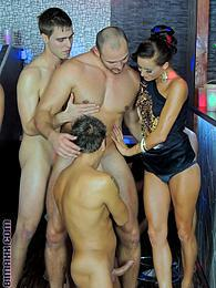 Bisexual guys share their cocks with a horny cock in group pictures at sgirls.net