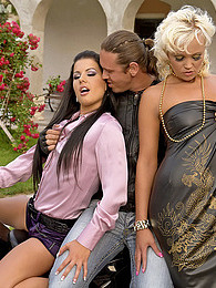 Two clothed pretty girls screwing very horny guy outside pictures at freekilomovies.com