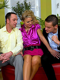 Sexy clothed beauty fucked by two very horny guys hardcore pictures