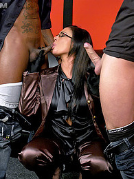 A sexy and clothed babe nailed by two horny dudes at once pictures at freekilosex.com